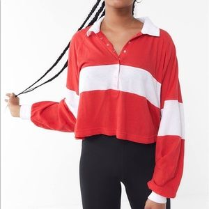 Urban Outfitters Red White Striped Crop Polo